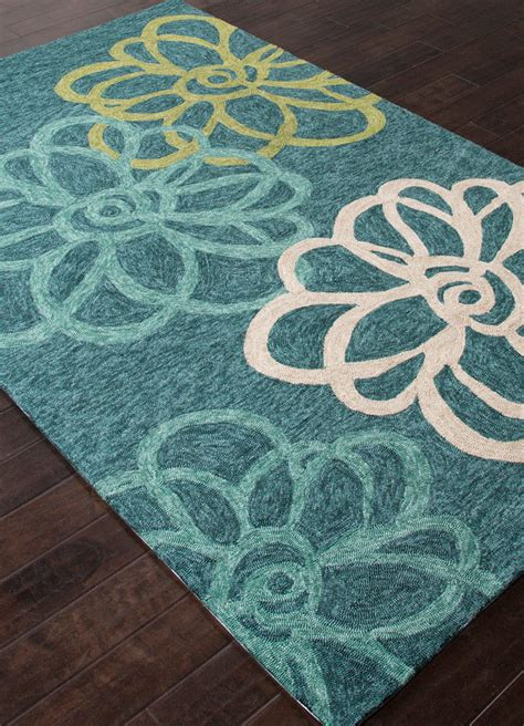3x5 Modern Floral Coastal Blue Indoor Outdoor Hooked Area Outdoor Rug 3x5