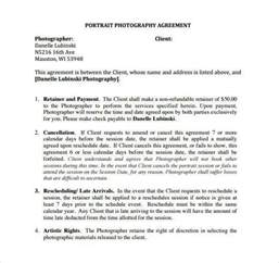 photographer contract template photography contract template 18 free word pdf