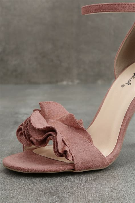 mauve high heels idola mauve suede ankle heels 4 wrapped narrow block
