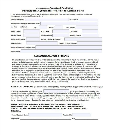 waiver form template release form templates