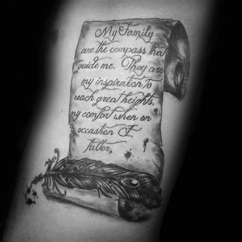 tattoo old paper family quote mens scroll rib cage side tattoos tattoos