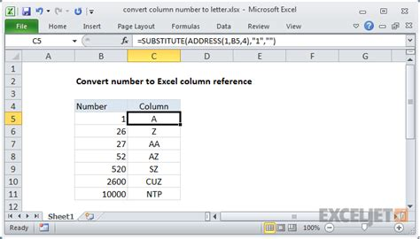 excel formula convert column number to letter exceljet