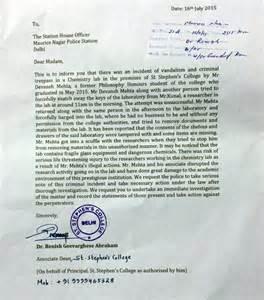Complaint Letter Professor St Stephen S Lodges Complaint Against Student Editor Devansh Mehta India News India