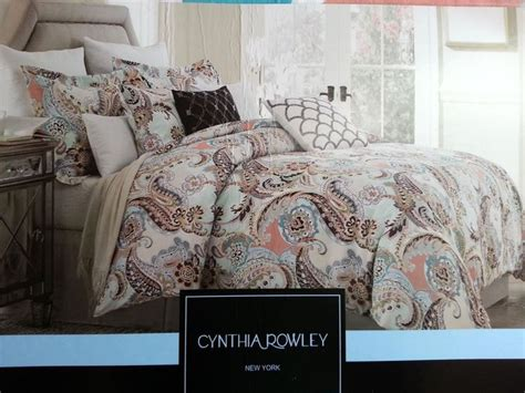 cynthia rowley aqua lime green peach paisley 3pc king
