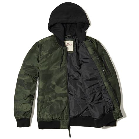 lyst hollister camo hooded bomber jacket in green for