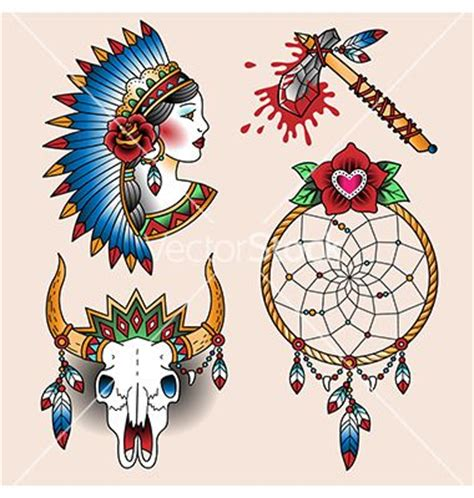 dream catcher tattoo vector tattoo native american dream catcher set vector by