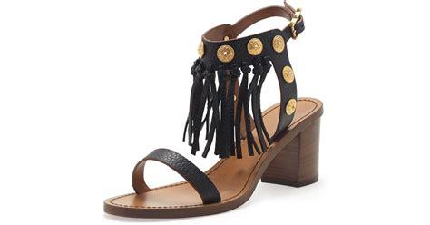 Sandal Heels Burberry 9320 48w valentino leather fringe sandal in black lyst