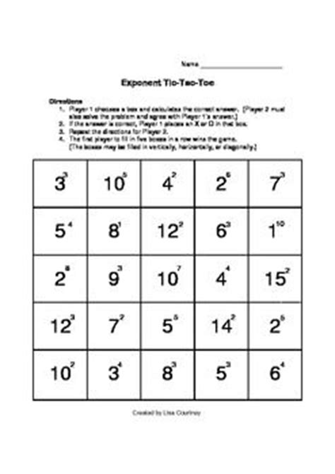 printable exponent games exponent tic tac toe game activity math algebra