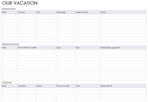 Vacation Itinerary Template Beepmunk Travel Planner Template