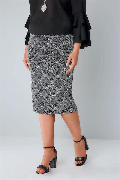 Glitter Skirt yours black white silver deco print glitter