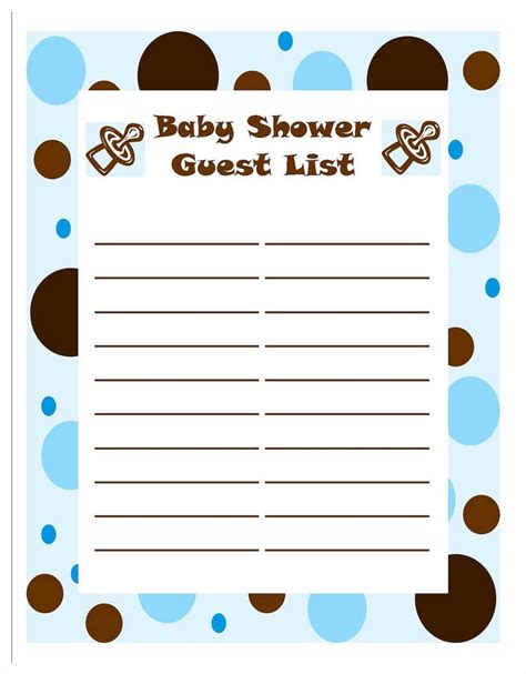 Baby Shower Guest by Baby Shower Guest List Template Mughals
