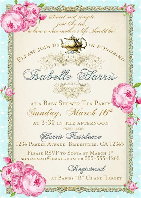Tea Party Baby Shower Tea Party Invitation Floral By Jjmcbean Jojo Baby Shower Pinterest Tea Baby Shower Invitation Templates