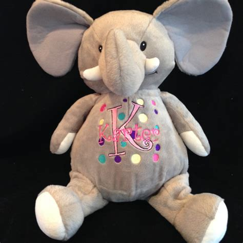 color and wash stuffed animal personalized embroidered stuffed animal pink elephant