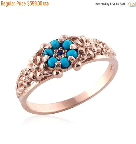 holiday sale rose gold ring turquoise wedding antique