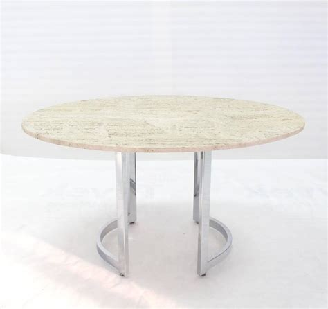 Travertine Top Dining Table Oval Travertine Top Dining Table On Chrome Base For Sale At 1stdibs