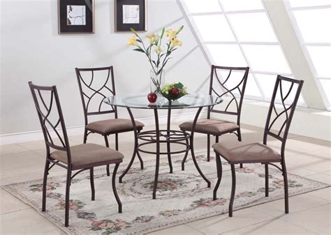 piper glass dining table set 5 pc set round glass metal dining room kitchen dinette