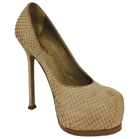 ysl high heels ysl beige python high heel pumps with covered platforms at