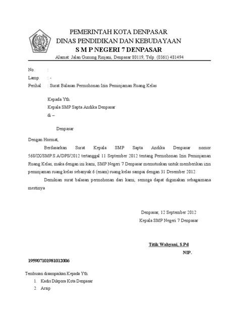 surat balasan permohonan izin pinjam kelas