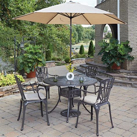 Patio Dining Set With Umbrella Home Styles Largo 5 Patio Dining Set With Umbrella And Cushions 5561 3286c The Home Depot