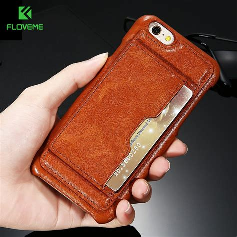 Leather Card Slot Casing Kulit Iphone 6 6s 6 6s 7 7 8 8 Plus floveme vintage leather for iphone 6 6s plus card slot stand holder retro phone cases