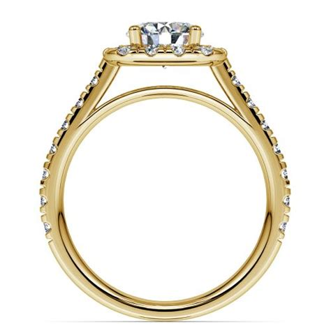 square halo engagement ring in yellow gold 1 2 ctw