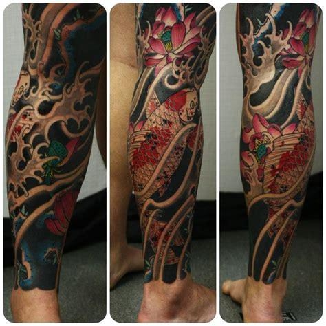tattoo oriental pierna japanese fish leg tattoo tattos pinterest tatuajes