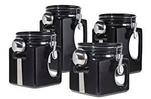 Black Kitchen Canister Sets Amazon Com Oggi Ez Grip Handle Ceramic 4 Piece Canister