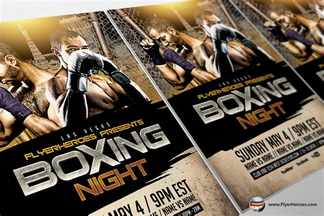 Boxing Fight Card Template by Boxing Flyer Template 2 Flyer Templates On