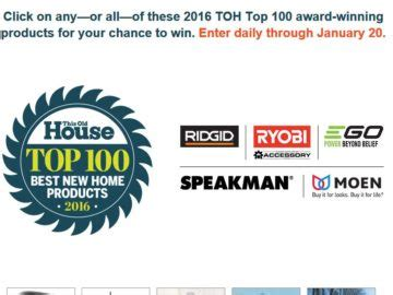 Top 100 Sweepstakes - this old house toh top 100 sweepstakes