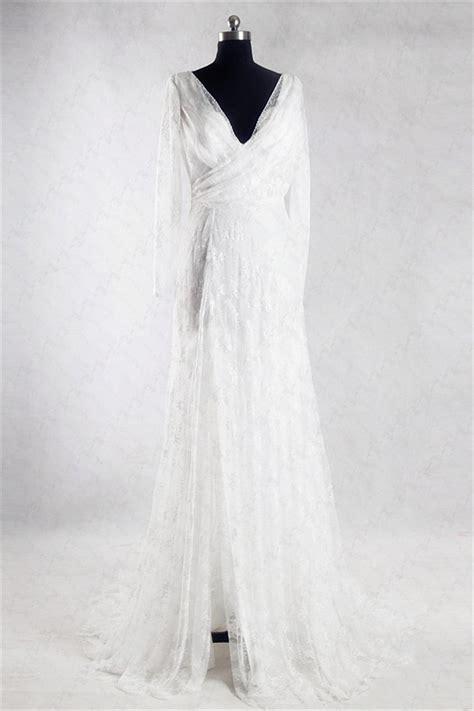 Lace Sleeve V Neck Sheath Dress sheath v neck sleeve informal lace wedding dress with