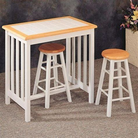 tile top bar table natural white tile top breakfast bar table stool set by