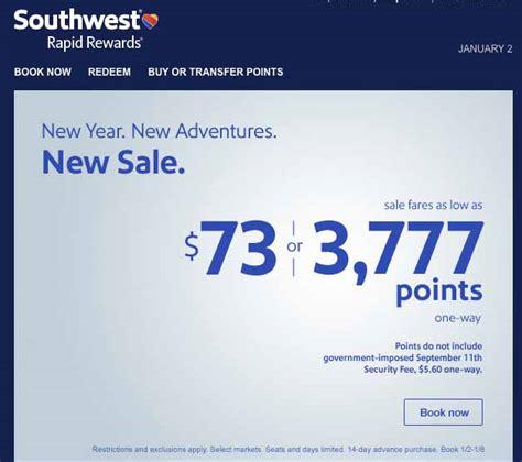 southwest flight sale southwest new year sale fll ord 9k points fll bwi 10k fll aus 9k