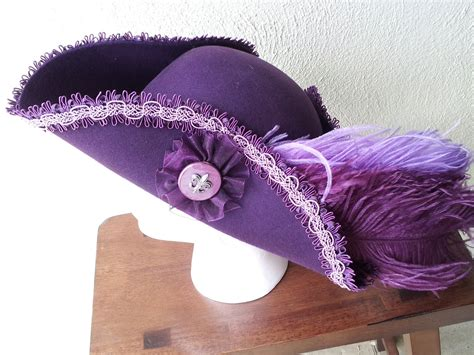 Handmade Pirate Hats - pirate hat tricorn style purple with purple lavender trim