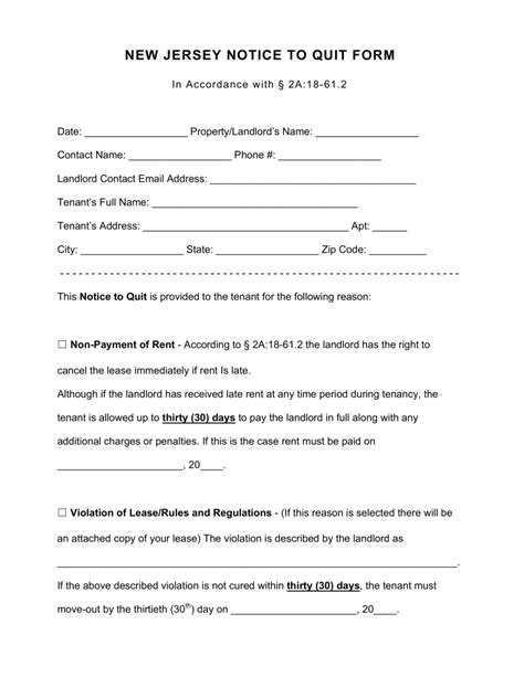 Lease Quit Notice free new jersey notice to quit form for all