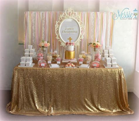 Gold And Dusty Pink Classic Girls Candy Buffet Candy Gold Buffet Table