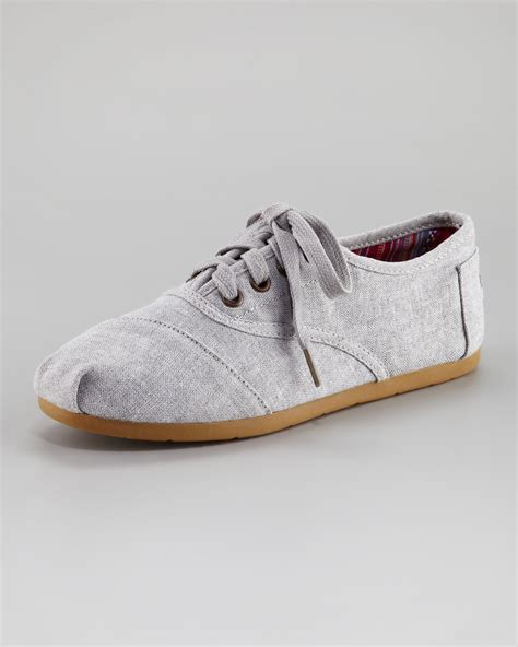 gray shoes toms fabric laceup shoe in gray grey lyst