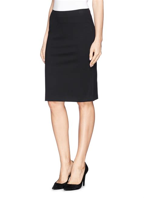 armani stretch gabardine pencil skirt in black lyst