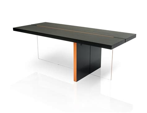 modrest vision modern black oak floating dining table