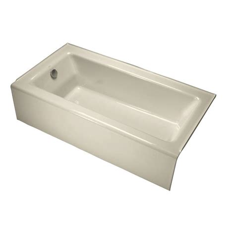 kohler bathtub shop kohler bellwether 60 in almond cast iron skirted bathtub with left hand drain at