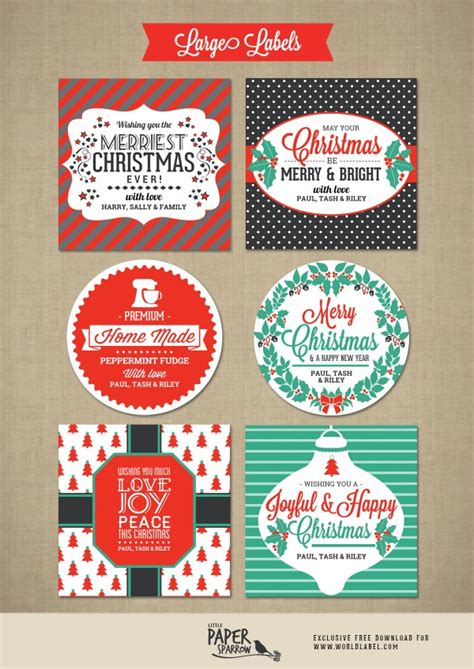 merry christmas labels   paper sparrow  printable labels templates label design