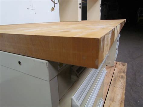 hardwood bench top stanley vidmar 2 pedestal workbench hardwood top w riser 9