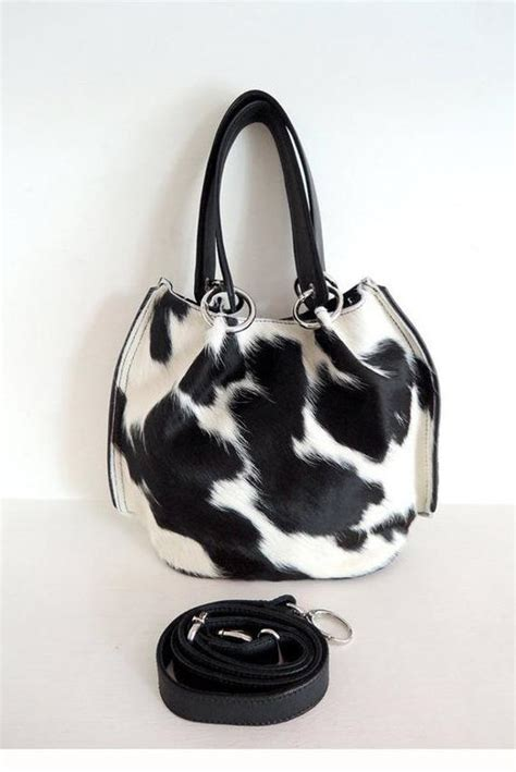 Calf Leather Small Sling Bag small tote bag in calf hair black white sling bag
