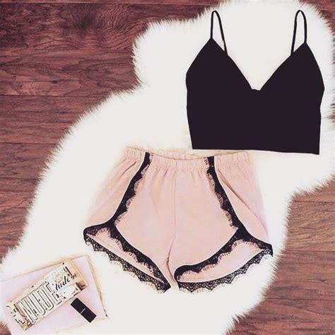 Frill Top Pastel shorts pink shorts pastel frill top black crop