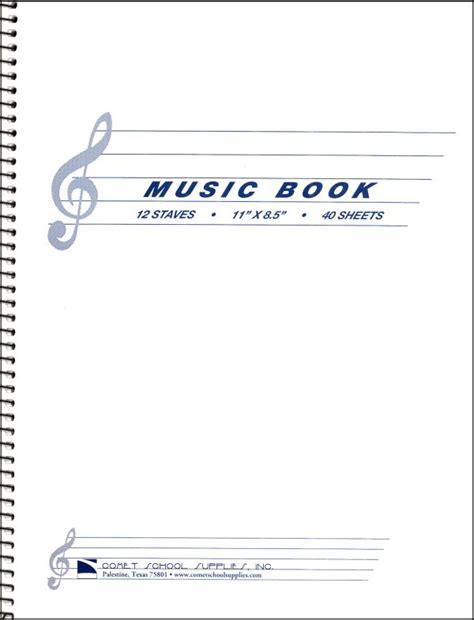 Musical Book Covers by Book Wirebound W 12 Staves Per Page 013816