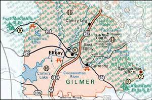map of fannin county and the cities of ellijay east