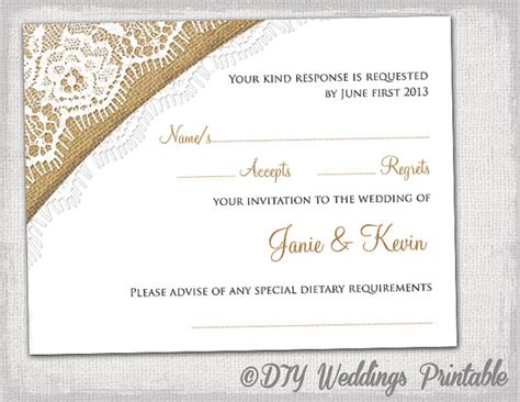 template for rsvp cards for wedding rustic wedding rsvp template by diyweddingsprintable