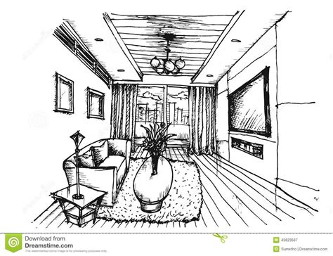interior drawing drawing interior design for living room stock vector image 45623567