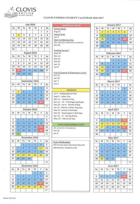 Clovis Unified School District Calendar 2016 2017
