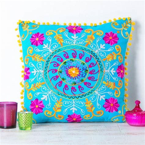 handmade embroidered turquoise cushion by all things