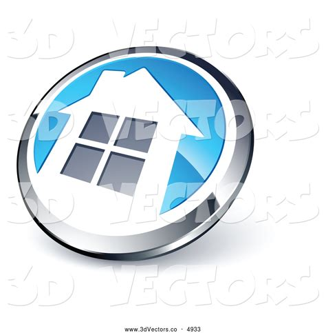 3d vector clipart of a 3d shiny chrome and blue home